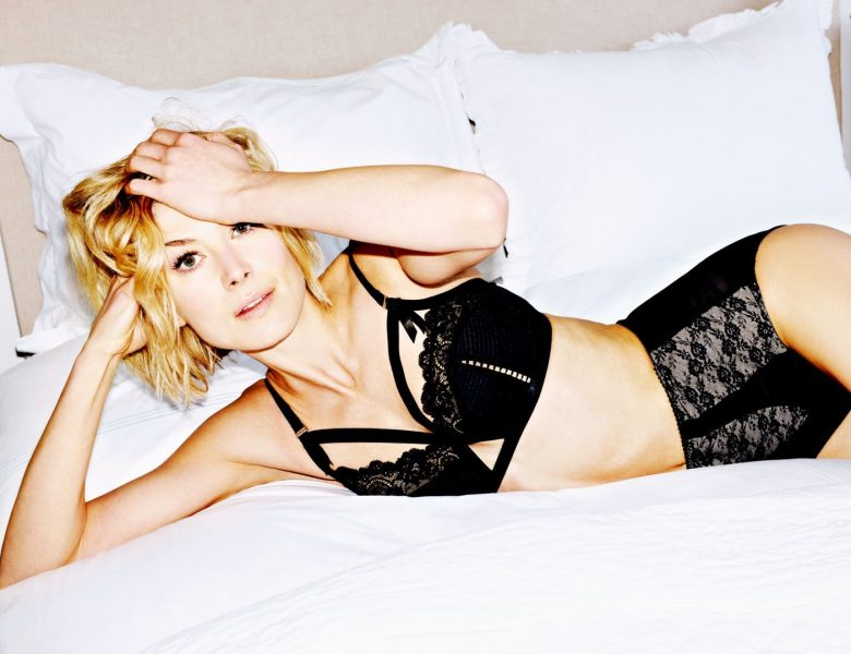 Blond-Haired Actress Rosamund Pike Being Playful in Sexy Lingerie