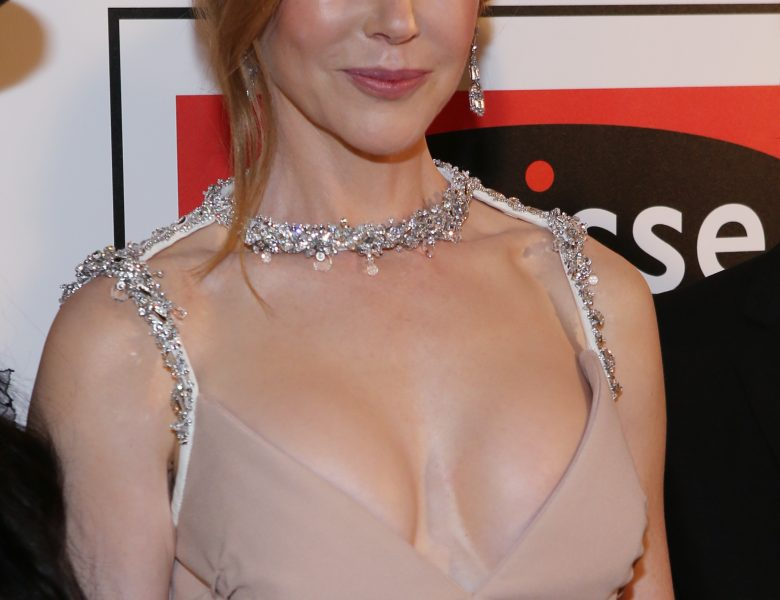 Redheaded A-List Actress Nicole Kidman Dons a Cleavage-Baring Dress