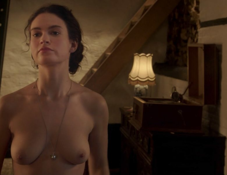 Brunette Actress Lily James Showing Her Natural Boobs on the Screen