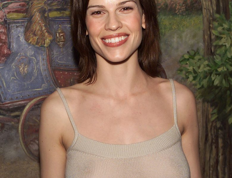 Braless Hilary Swank Showing Her Natural Boobs in a See-Through Dress