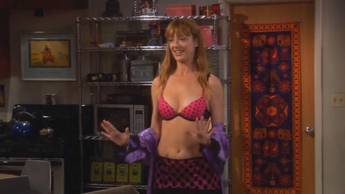 Lingerie-Wearing Judy Greer Showing Her Sexy Midriff and Breasts