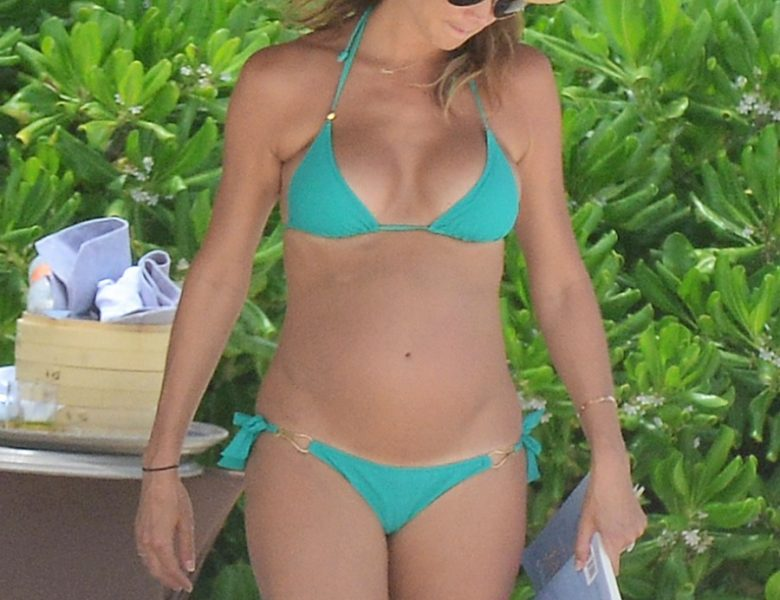 Pregnant Stacy Keibler Displaying Her Growing Baby Bump in a Bikini