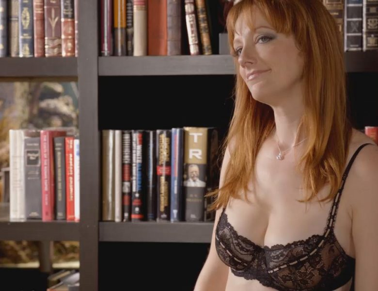 Redheaded Judy Greer Showing Her Gorgeous Breasts in Black Lingerie