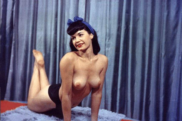 Iconic Hottie Bettie Page Demonstrates Her Bush and Then Some