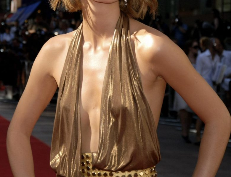 Perfect British Babe Keira Knightley Teasing in a Cleavage-Baring Dress