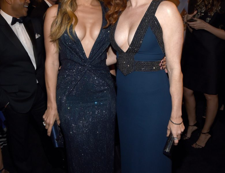 Chesty Redhead Amy Adams Displaying Her Enviable Cleavage in a Sexy Dress