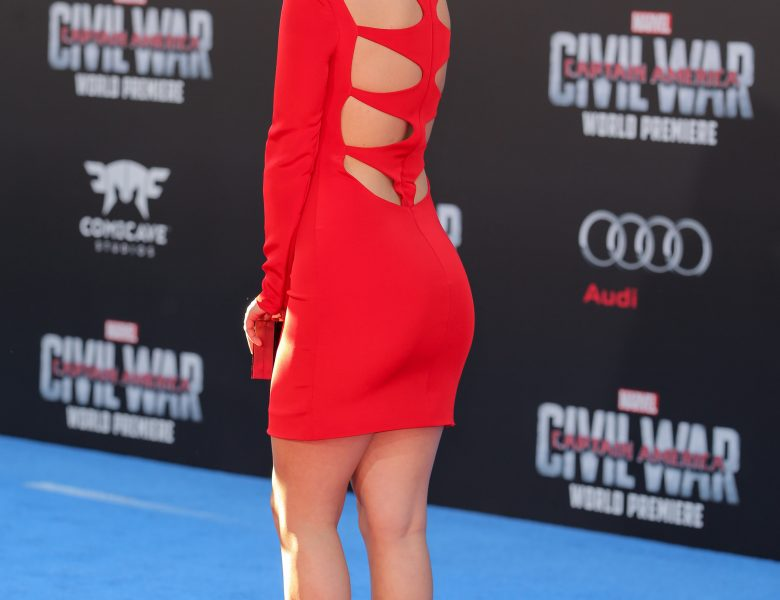 Hot Chloe Bennet Shows Her Slim Legs While Wearing a Revealing Red Dress