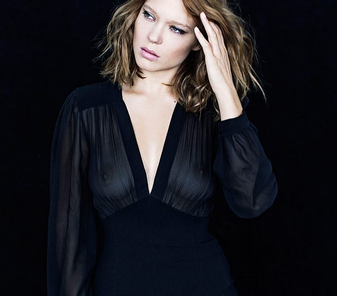 Chesty Beauty Léa Seydoux Posing in a Transparent Outfit for Free